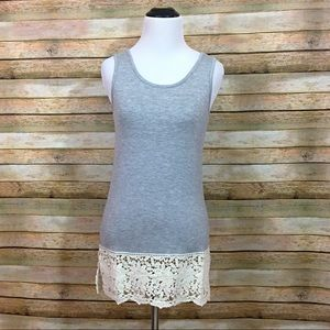 NWT Grace & Lace Lace Tank Extender - Gray - XS